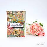 Papiernictvo - Vintage pohľadnica s viktoriánskymi ružami (čierno-biela) - 8525272_