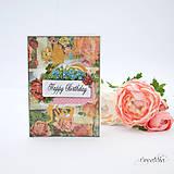 Papiernictvo - Vintage pohľadnica s viktoriánskymi ružami (ružovo-biela) - 8525306_