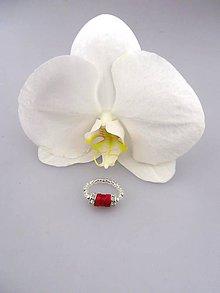 Prstene - koral striebro prsteň flexibilný - 8525067_