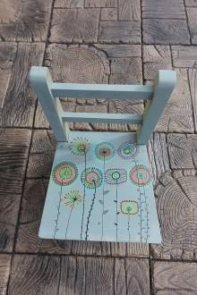 Detské doplnky - Detská drevená stolička RETRO KVETY - 8525346_