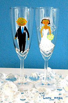 Darčeky pre svadobčanov - Svadobné poháre ♥ženích a nevesta♥ - 8524718_