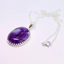 Náhrdelníky - Natural Amethyst Necklace Silver 925 / Strieborný náhrdelník s oválnym príveskom ametystu /0506 - 8528061_
