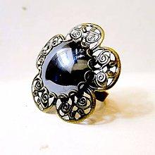 Prstene - Vintage Flower Filigree Hematite Ring / Bronzový prsteň s kvetovým filigránom a hematitom #0540 - 8529338_
