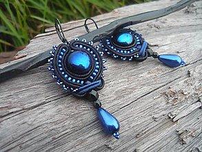 Náušnice - Soutache náušnice Black&DarkBlue - 8529381_