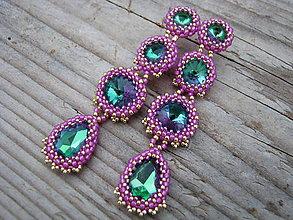 Náušnice - Rivoli inšpirácie...Emerald/Milky Hot Pink - 8528779_