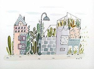 Obrazy - Mesto rastliny - ilustrácia obraz/ originál maľba - 8527430_