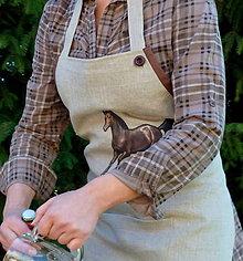 Oblečenie - Ľanová zástera Hnedý mustang - 8528406_