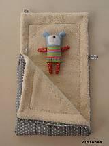 Textil - 100% Ovčie rúno merino Baranček FUSAK pre deti do kočíka Hviezdička sivá - 8529630_