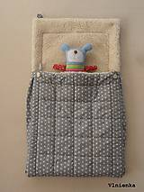 Textil - 100% Ovčie rúno merino Baranček FUSAK pre deti do kočíka Hviezdička sivá - 8529631_