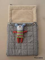 Textil - 100% Ovčie rúno merino Baranček FUSAK pre deti do kočíka Hviezdička sivá - 8529636_