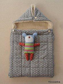 Textil - 100% Ovčie rúno merino Baranček FUSAK pre deti do kočíka Hviezdička sivá - 8529635_