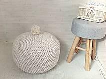 Háčkovaný PUF ecru, prírodný bavlna