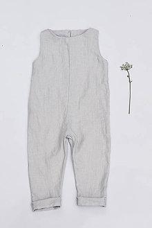 Detské oblečenie - Detský ľanový overal - rôzne farby - 8527306_
