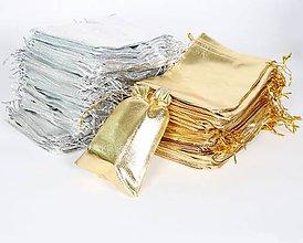 Obalový materiál - VO104 Látkové vrecúško zlaté/strieborné (STRIEBORNÉ 9 x 7 cm) - 8527986_