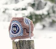 Šály - Sněží na veverku béžovošedý - klučičí - 8528422_