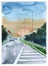 Obrazy - Před bouří - originál, akvarel a kvaš - 8527575_