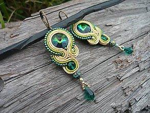 Náušnice - Soutache náušnice Gold&Emeralds - 8532742_
