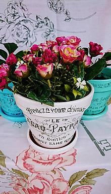"""Dekorácie - Kvetináč """"Rose"""" + kvety - 8529911_"""