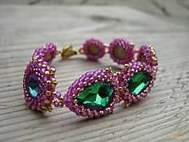 Rivoli inšpirácie...Emerald/Milky Hot Pink - náramok
