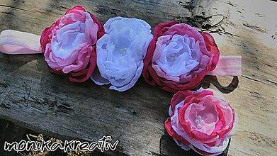 Detské doplnky - Čelenka s rôznymi odtieňmi ružovej s pukačkou set - 8532593_