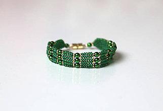 Náramky - Zelený s perličkami - 8531333_