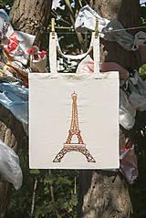 """Nákupné tašky - Eko taška s ručne vyšívaným vzorom """"Eiffelova veža"""" - 8530992_"""