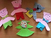Hračky - Tri prasiatka- prstové bábky s domčekom - 8530493_