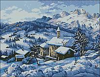 K033 Dedinka v zime - predloha na vyšívanie