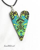 Náhrdelníky - Tyrkysovo-zelené srdce - 8532641_