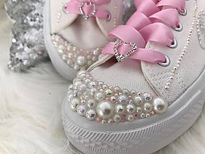 Obuv - Ručné zdobené svadobné tenisky :) Pink :) - 8533003_