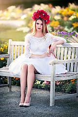 Šaty - Krátke tylové svadobné šaty s trištvrťovým rukávom - 8530583_