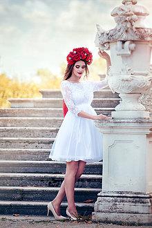 Šaty - Krátke tylové svadobné šaty s trištvrťovým rukávom  - 8530584_