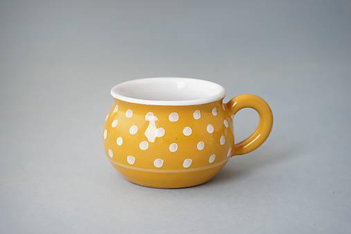 Buclák 5 espresso puntík - žlutý
