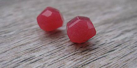 Náušnice - Mini ováliky brúsené - živicové napichovačky (ružové  č.1249) - 8532047_