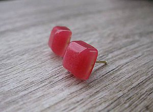 Náušnice - Živicové kocky - napichovačky (Ružové  č.1251) - 8532120_