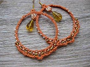 Náušnice - Macramé oranžové kruhy veľké č.1253 - Akcia - 8532209_