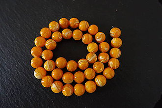 Korálky - Morská mušla oranžová korálka 10mm - 8533118_