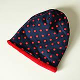 Detské čiapky - detská čiapka oteplená červené bodky - 8530306_