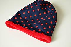 Detské čiapky - detská čiapka oteplená červené bodky - 8530307_