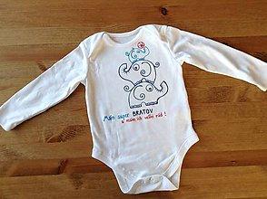 """Detské oblečenie - Maľované body so sloníkmi a nápisom (""""mám super brata ... Mám ho rád"""") - 8532793_"""