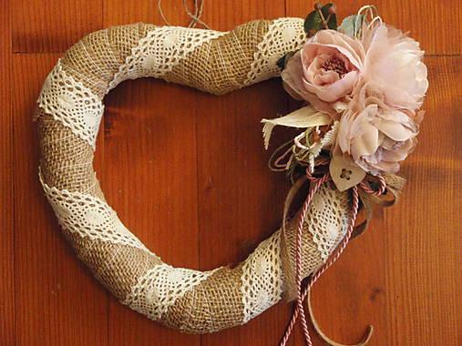 3600ad061 Jutové vintage srdce s pudrovoružovými kvetmi / erikak - SAShE.sk ...