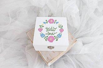 Prstene - Svadobná krabička pastelový folk - 8530153_