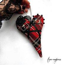 Dekorácie - Rockové punkové gotické kárované srdce-dekorácia - 8536264_
