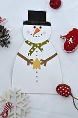 Papiernictvo - Vianočný pozdrav - Snehuliak - 8536140_