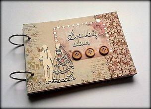 Papiernictvo - Vintage romantický svadobný mini scrapbook album A5 - 8534505_