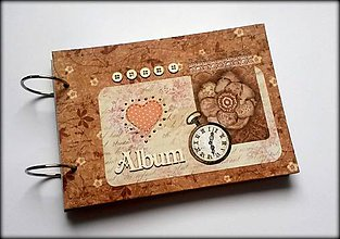 Papiernictvo - Vintage svadobný scrapbook album/ kniha hostí A5 - 8534600_