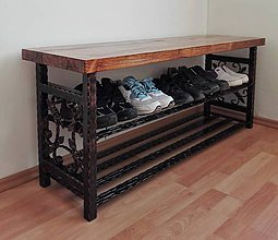 Nábytok - Kovaný botník pre 6 párov topánok s doskou na sedenie 90 cm - 8536233_