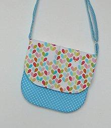 Detské tašky - Detská kabelka srdiečková (tyrkysová) - 8535418_