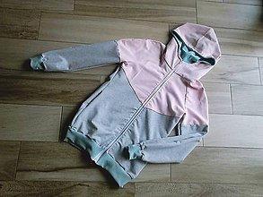 Tehotenské oblečenie - Mikina na nosenie dieťatka-ružová + mentol 2 - 8534043_