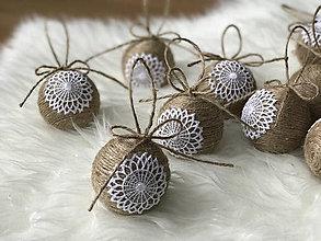 Dekorácie - Vianočné gule prírodné - 10ks v balení - 8538327_